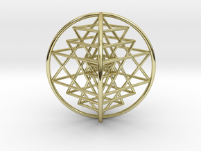 "3D Sri Yantra 4 Sided Optimal 3"" in 18K Gold Plated"