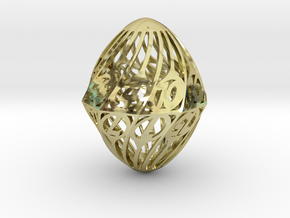 Twisty Spindle d20 in 18K Gold Plated