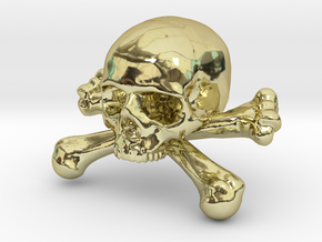 12mm .47in Skull & Bones for earring in 18K Gold Plated