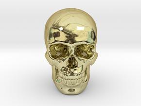 25mm 1in Human Skull Crane Schädel че́реп in 18K Gold Plated