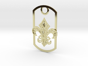 Fleur de lis dog tag in 18K Gold Plated