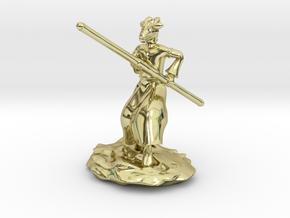 Dragonborn Monk in Robes with Quarterstaff in 18K Gold Plated