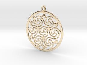Celtic Seven Spiral Pendant in 14k Gold Plated Brass