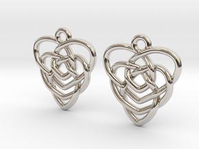 Celtic Motherhood Knot Earrings in Rhodium Plated Brass