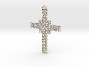 Celtic Knot Cross Pendant in Rhodium Plated Brass: Small