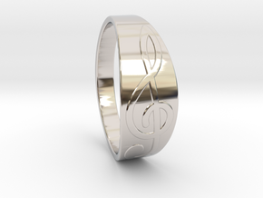 Size 9 M G-Clef Ring  in Rhodium Plated Brass
