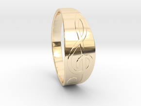 Size 9 M G-Clef Ring  in 14k Gold Plated Brass