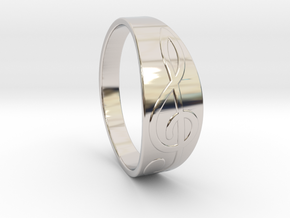 Size 10 M G-Clef Ring  in Rhodium Plated