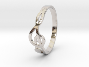 Size 8 G-Clef Ring  in Rhodium Plated Brass