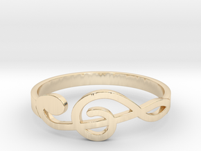 Size 9 G-Clef Ring  in 14k Gold Plated Brass
