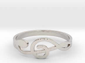 Size 7 G-Clef Ring  in Rhodium Plated Brass