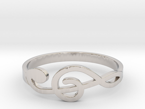 Size 9 G-Clef Ring  in Rhodium Plated Brass