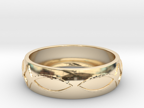 Size 9 Ring  in 14k Gold Plated Brass