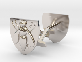 Bee (industry) cufflinks in Rhodium Plated Brass
