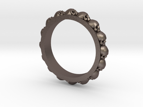 Skull Eternity Style Size 12 in Polished Bronzed Silver Steel