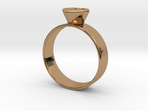 Ring with heart in Polished Brass