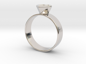 Ring with heart in Rhodium Plated Brass