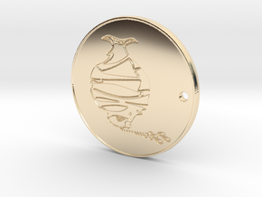 Phitz Coaster, Sculpture, Paperweight, or Pendant in 14k Gold Plated Brass