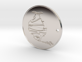 Phitz Coaster, Sculpture, Paperweight, or Pendant in Rhodium Plated Brass