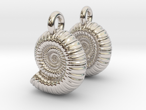 Ammonite Earings (pair) in Rhodium Plated Brass