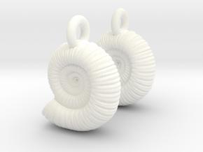 Ammonite Earings (pair) in White Processed Versatile Plastic