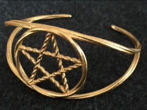 Woven Pentacle cuff/armband in Polished Gold Steel
