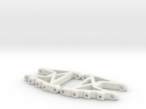 RC10DS Rear Control Arms in White Natural Versatile Plastic