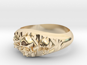 Cutaway Ring With Skulls Sz 13 in 14k Gold Plated Brass