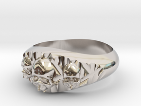 Cutaway Ring With Skulls Sz 13 in Rhodium Plated Brass