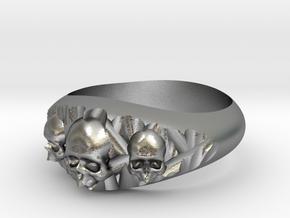 Cutaway Ring With Skulls Sz 8 in Raw Silver