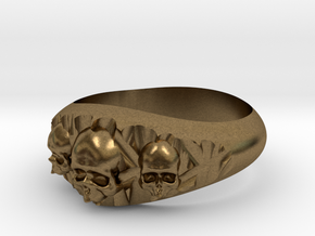 Cutaway Ring With Skulls Sz 10 in Natural Bronze