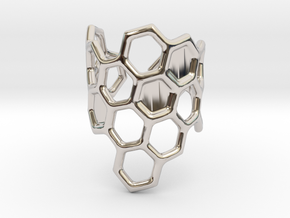 Honeycomb Ring in Rhodium Plated Brass