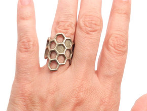 Honeycomb Ring in Polished Bronzed Silver Steel