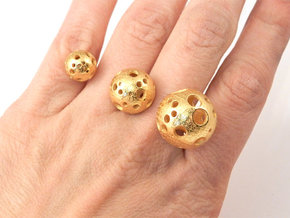 Triple Moonball Ring in Polished Gold Steel