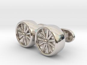 Jet Engine cufflinks in Rhodium Plated Brass