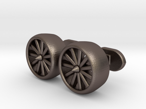 Jet Engine cufflinks in Polished Bronzed Silver Steel