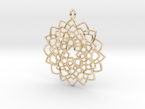 Mandala Flower Necklace in 14K Yellow Gold