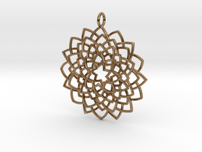 Mandala Flower Necklace in Natural Brass