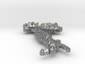 Italy Terrain Silver Pendant in Raw Silver