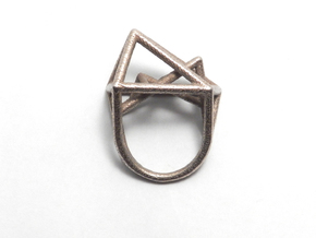 Urban Development Ring in Polished Bronzed Silver Steel