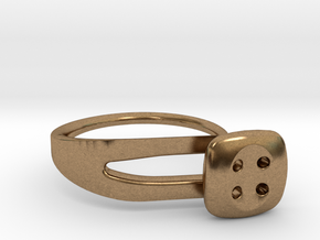 Button Ring Modern in Natural Brass