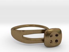 Button Ring Modern in Natural Bronze
