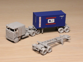 1:160 N Scale 20' Container Slider Chassis in Smooth Fine Detail Plastic