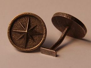 Compass cufflinks in Polished Bronzed Silver Steel
