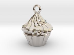 Cupcake Pendant in Rhodium Plated Brass