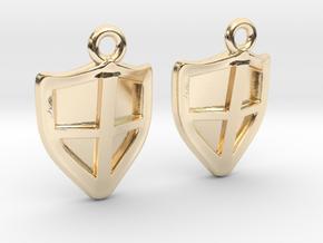 Shield Earrings in 14k Gold Plated Brass