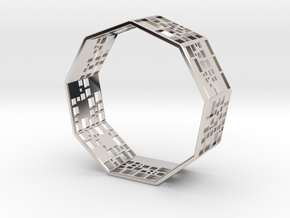 SPSS Bracelet (9 differently dissected squares) in Rhodium Plated Brass