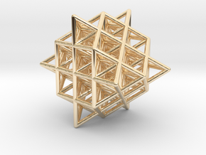 Isometric Vector Matrix - 64 Tetrahedron Grid  in 14k Gold Plated Brass