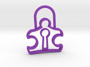 Autism Lock Pendant in Purple Processed Versatile Plastic