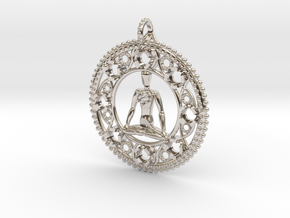 Centered In Meditation Pendant in Rhodium Plated Brass